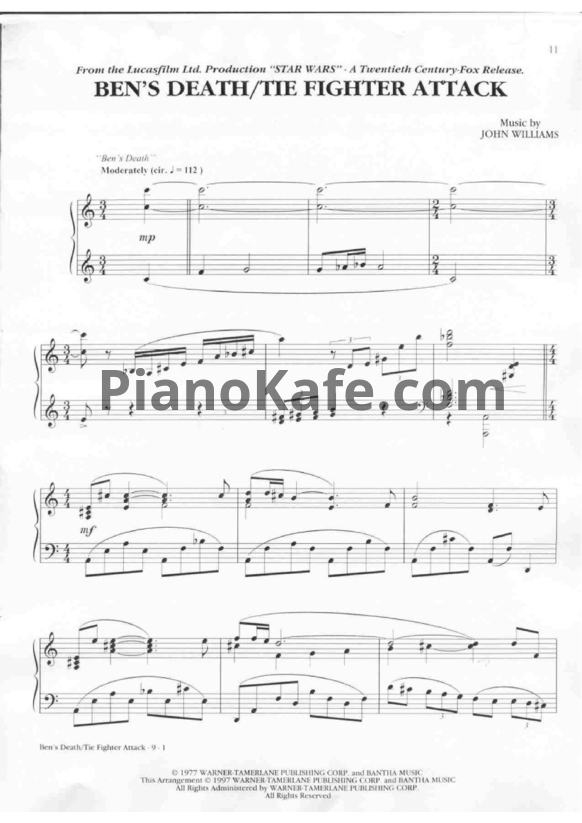 Ноты John Williams - Ben's death / The fighter attack - PianoKafe.com