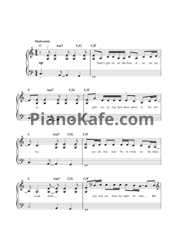 Ноты Taylor Swift - New Year's day (Версия 3) - PianoKafe.com