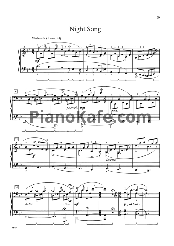 Ноты William Gillock - Night song - PianoKafe.com