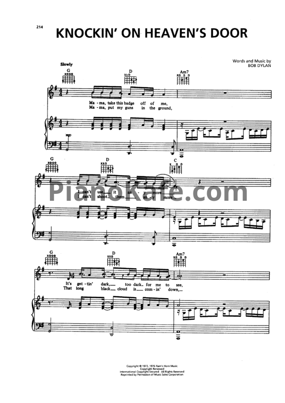 Knocking On Heavens Door Piano Chords Gallery Chord Guitar Finger