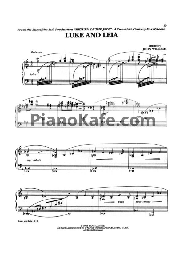 Ноты Johnn Williams - Luke and Leia - PianoKafe.com