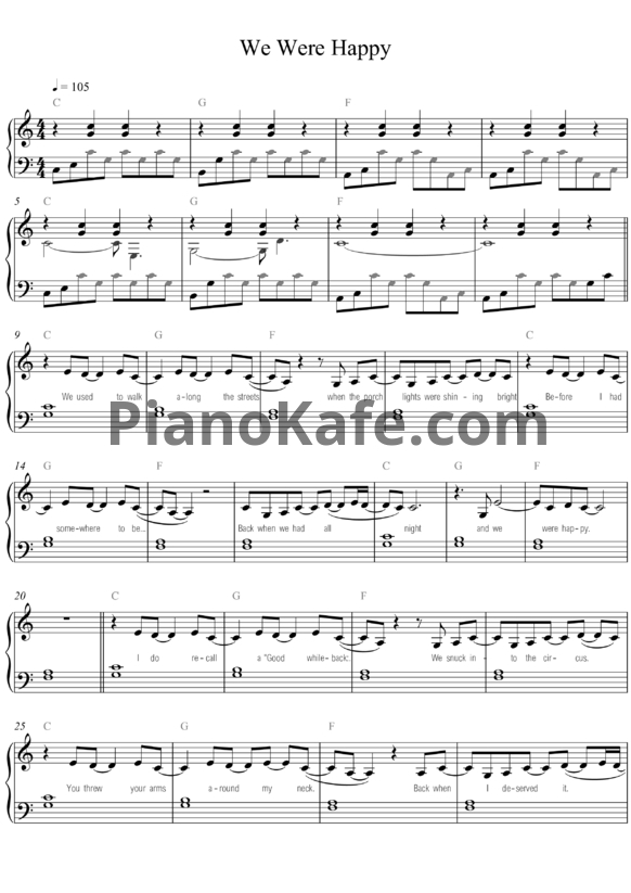 Ноты Taylor Swift - We were happy - PianoKafe.com