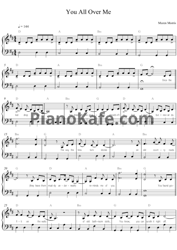 Ноты Taylor Swift feat. Maren Morris - You all over me - PianoKafe.com