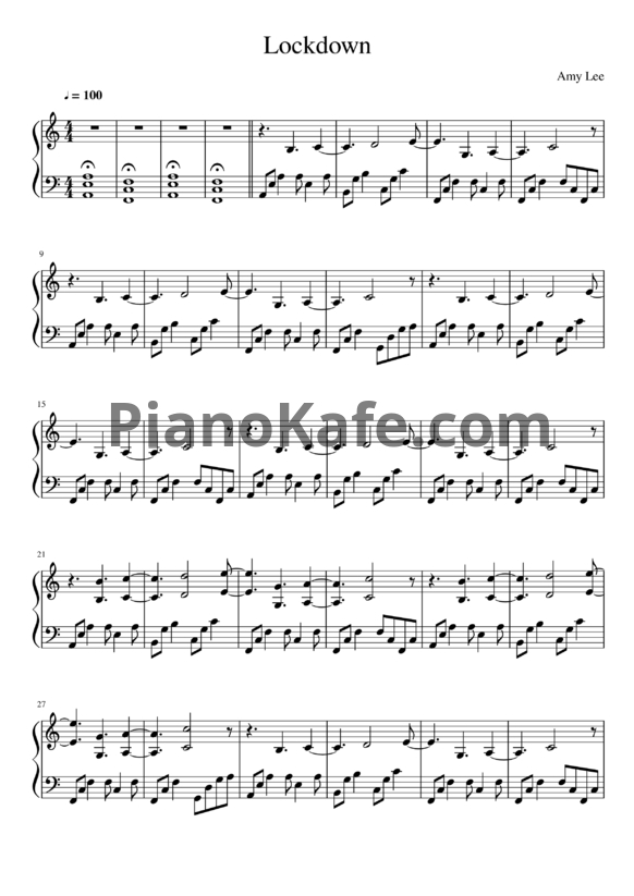 Ноты Amy Lee - Lockdown - PianoKafe.com