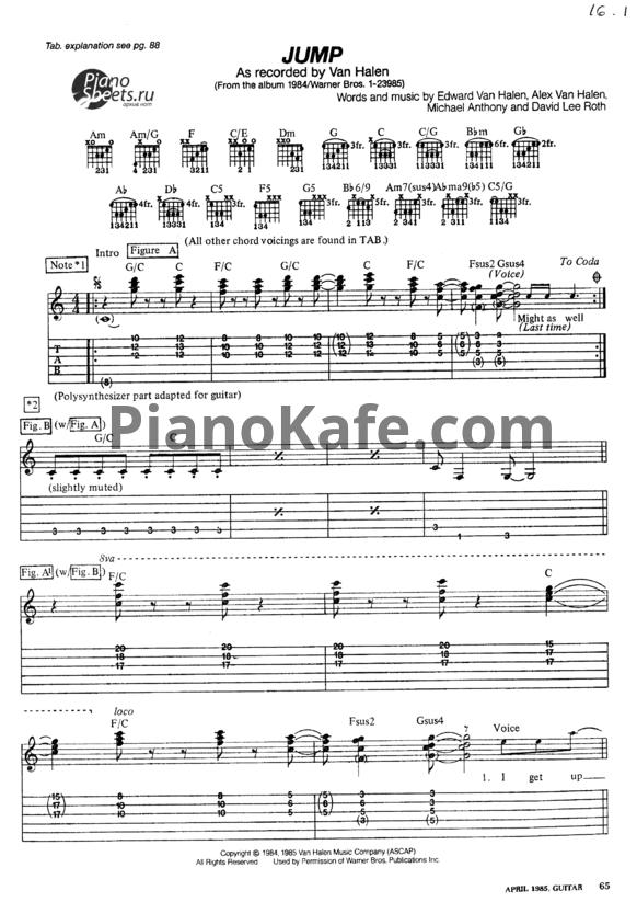 Noty Van Halen Jump Versiya 2 Noty Dlya Gitary I Golosa Pianokafe