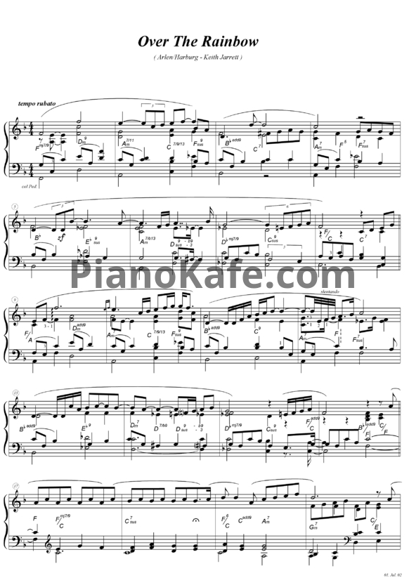 Ноты Keith Jarrett - Somewhere over the rainbow - PianoKafe.com