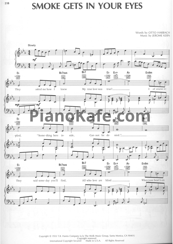 Ноты Jerome Kern - Smoke gets in your eyes - PianoKafe.com