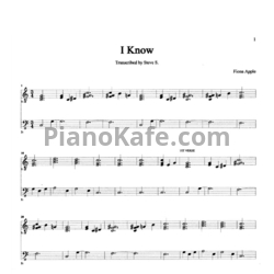 Ноты Fiona Apple - I know - PianoKafe.com