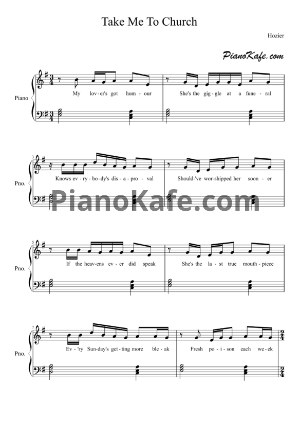 Ноты Hozier - Take me to church - PianoKafe.com