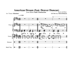 Ноты Lil' Dre feat. Denver Duncan - American dream - PianoKafe.com