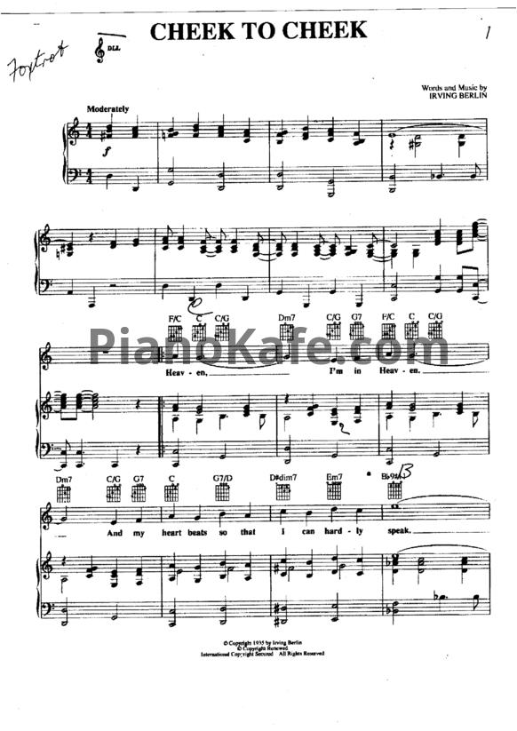 Ноты frank sinatra cheek to cheek для фортепиано, гитары, голоса.