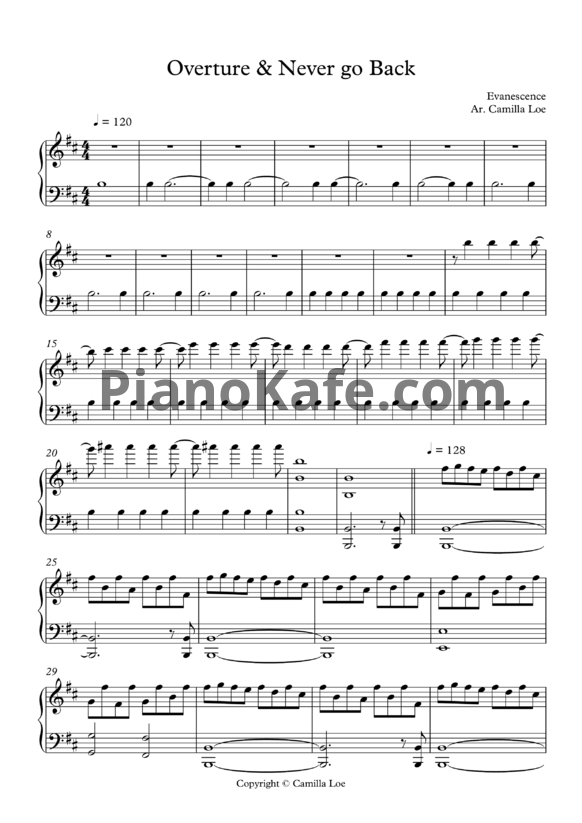 Ноты Evanescence - Overture & never go back - PianoKafe.com