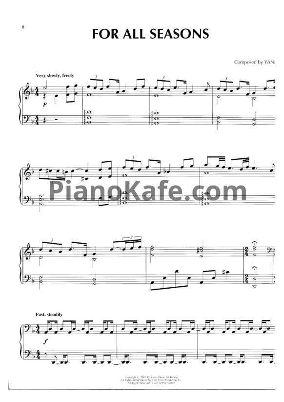 Ноты Yanni - For all seasons - PianoKafe.com