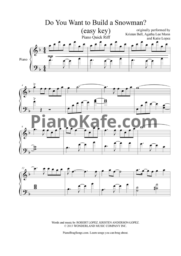 Ноты Kristen Bell, Agatha Lee Monn & Katie Lopez - Do You Want to Build a Snowman? - PianoKafe.com