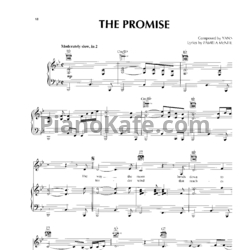 Ноты Yanni - The promise - PianoKafe.com